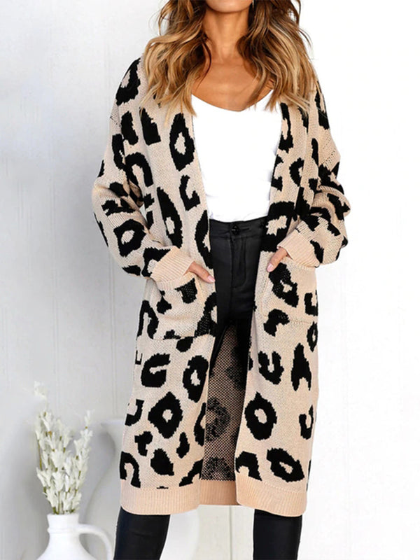 Casual Open Front Leopard Knit Long Cardigan