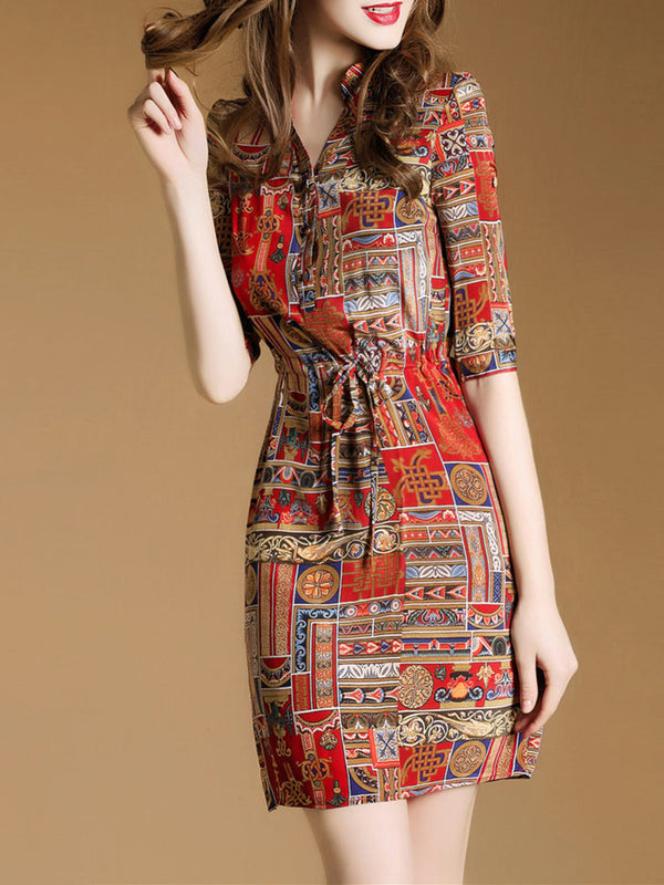 Red Tribal Printed Elegant Chiffon Dress