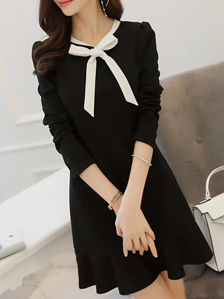 Black Flounce Tie-neck Casual Dress