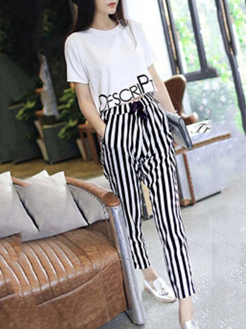 Printed Short Sleeve Casual Two Piece Women's Set