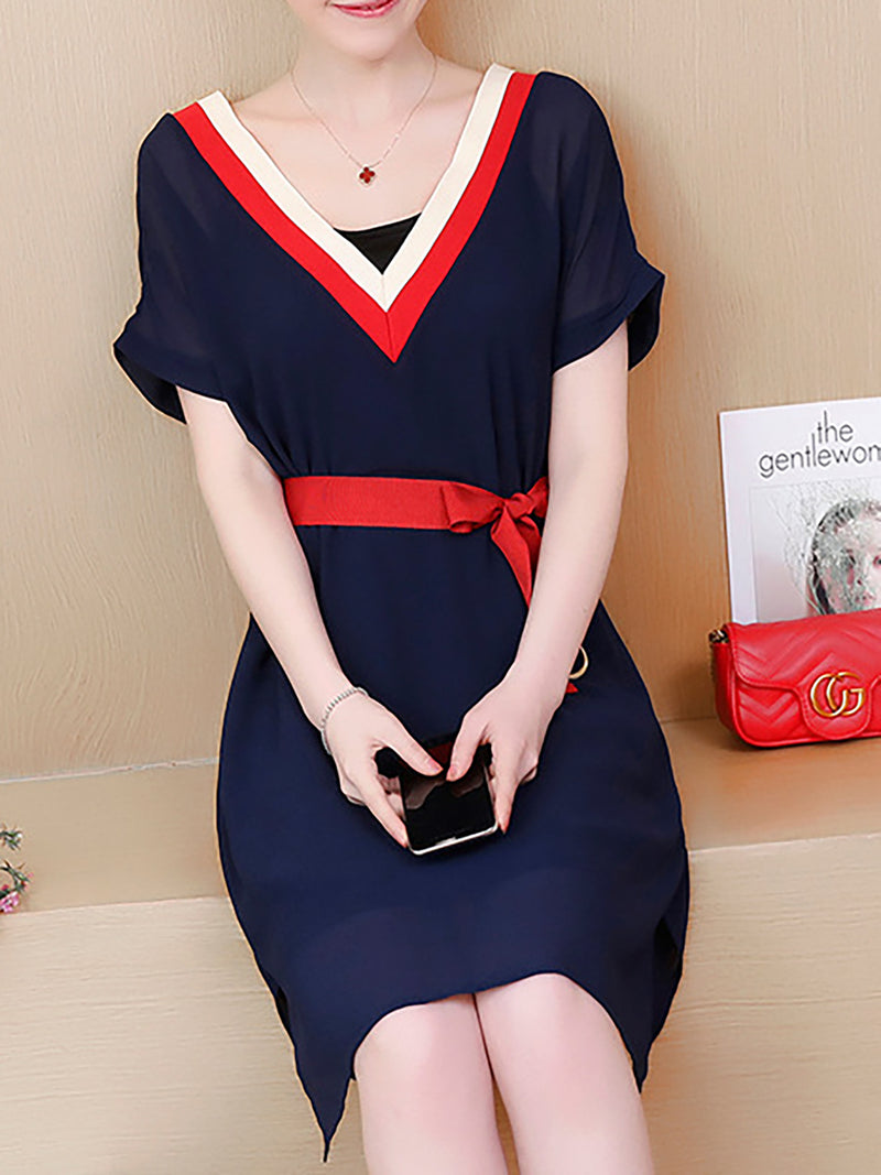 Paneled Short Sleeve V-neck Casual Dress
