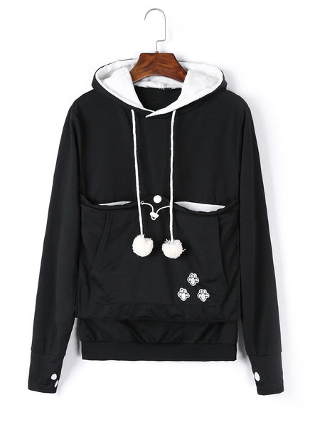 Animal Footprints Printed Casual Hoodie Top