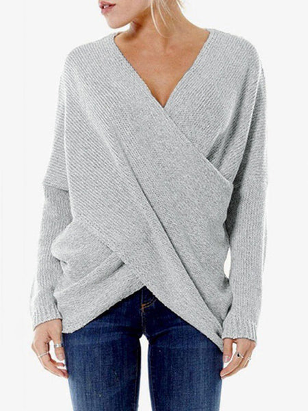 Asymmetric V Neck Sexy Long Sleeve Knitwear Sweater