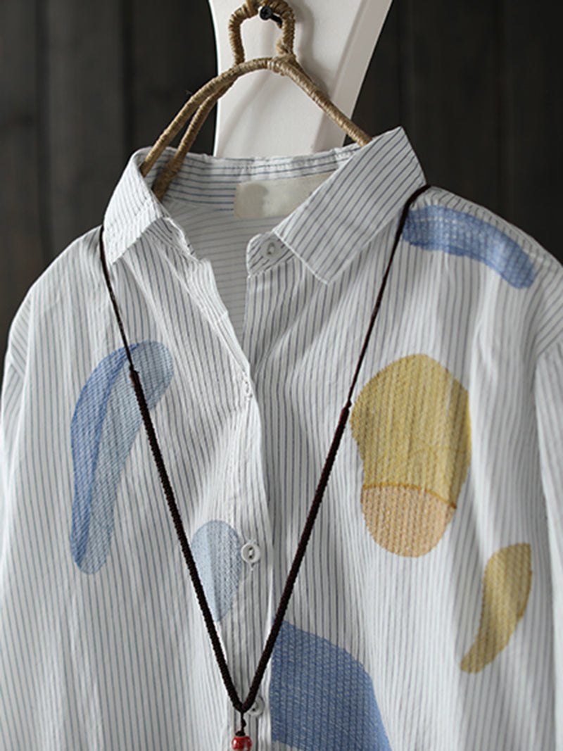 White Printed Collar Casual Geometric Shirt