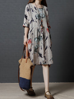A-line Crew Neck Floral Casual Dress