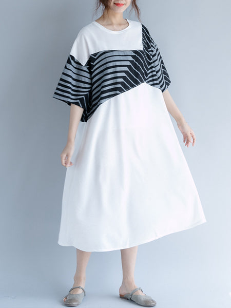 Casual Geometric Printed Frill Sleeve Linen Dress