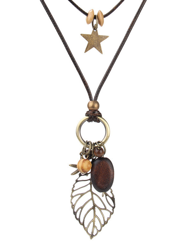 Brown Alloy Leaf Vintage Necklace
