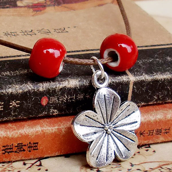 Womens Flower Alloy Sweater Necklaces
