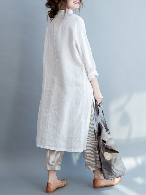 Casual Printed Long Sleeve Plus Size Linen Dress