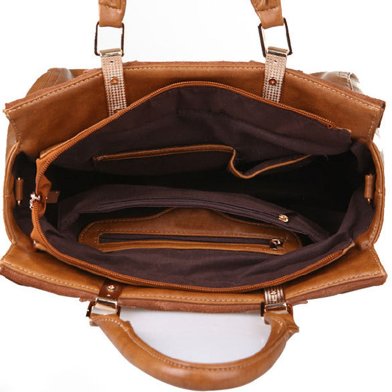 Fashion Womens Real Leather With Nubuck Retro Classic Style Brown Satchel Messenger Bags