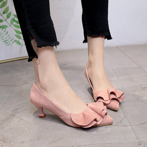 Ruffled Women Slip-On Suede Pointed Toe Pumps