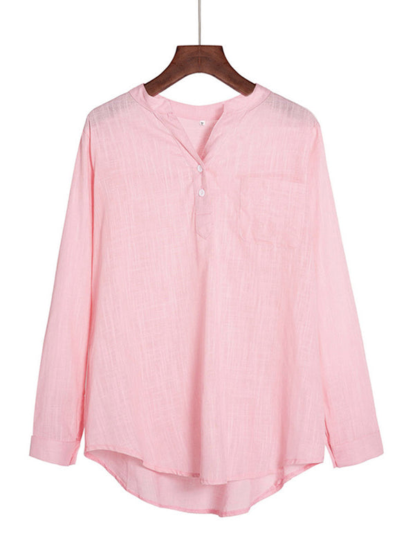 Casual Long Sleeve Plus Size Shirt Blouse Top