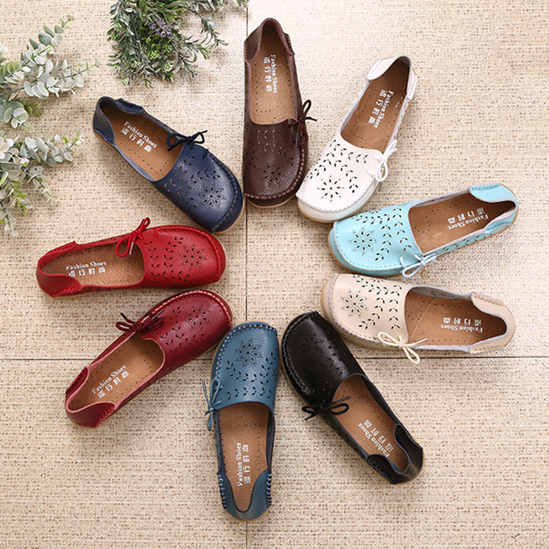 Women's Slip-On Bow Hollow Out Cowhide Flat Loafers