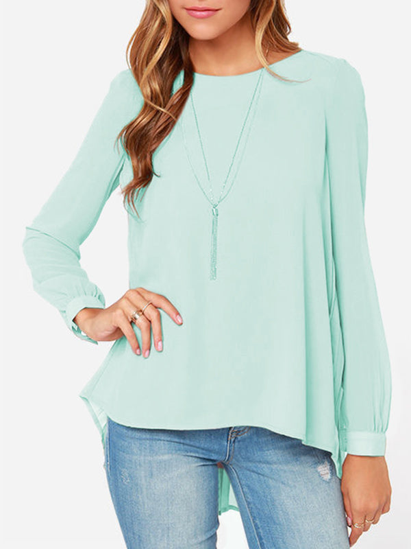 Crew Neck Long Sleeve Casual Shirt Blouse