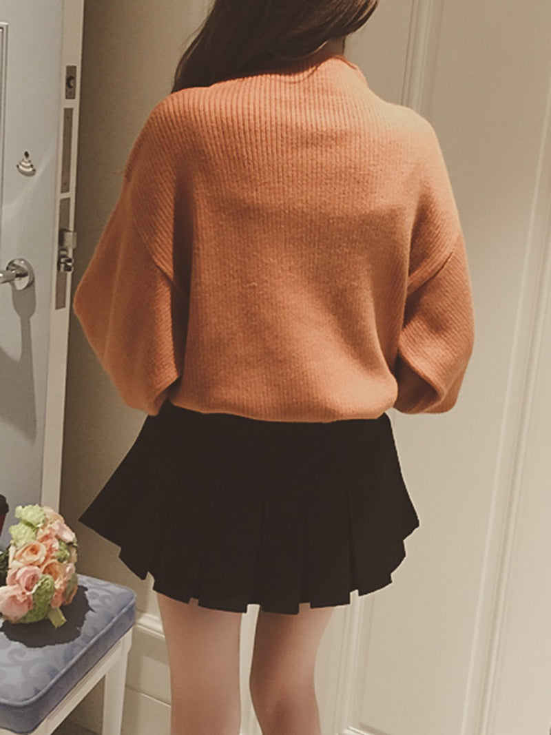 Balloon Sleeve Knitted Solid Turtleneck Sweater