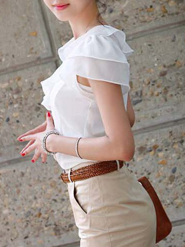 Short Sleeve Crew Neck Chiffon Ruffled Plus Size Blouse