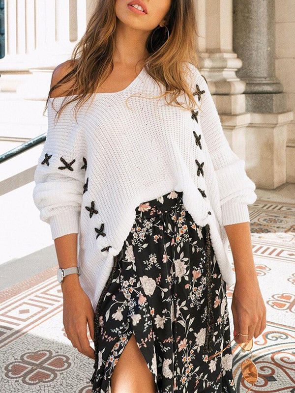 Lace Up One Shoulder Knitted Sweater