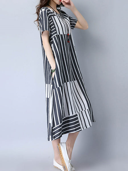 White-Black A-line Stripes Short Sleeve Casual Dress