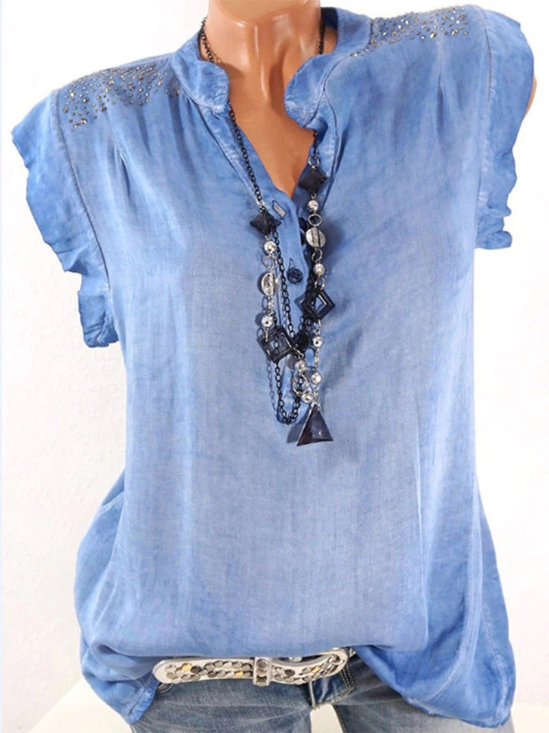 Solid Cotton Casual Frill Sleeve Blouses & Shirt