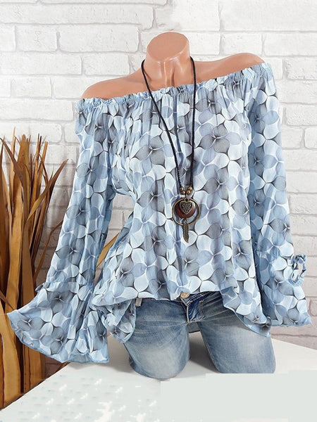 Bell Sleeve Printed Off Shoulder Blouses & Shirt