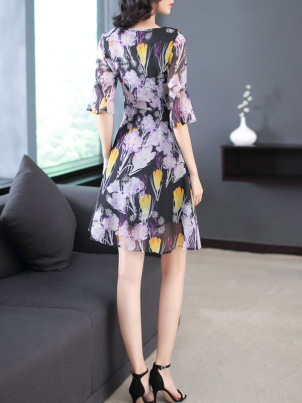 Purple Elegant Surplice Neck Frill Sleeve Chiffon Dress