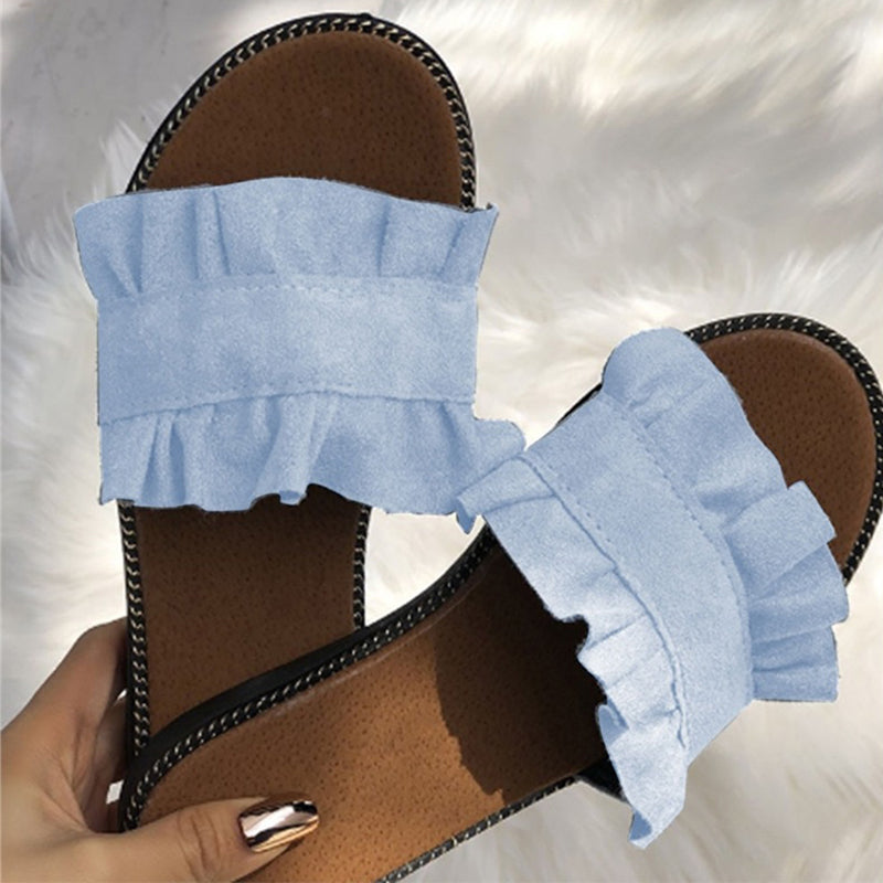Women Summer Casual Ruffles Hem Slide Flat Loafer Shoes