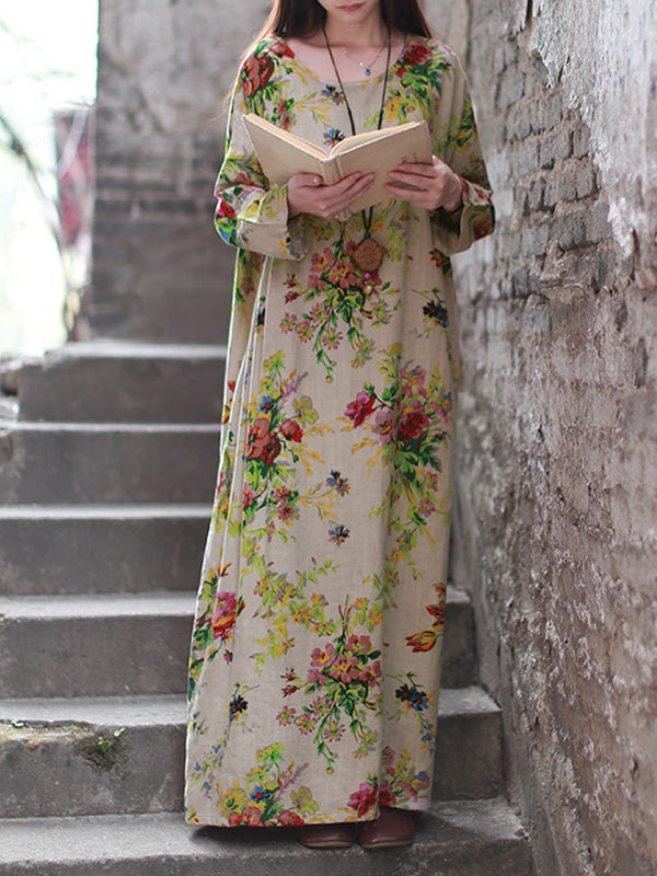 Floral Printed Long Sleeve Shift Maxi Linen Dress