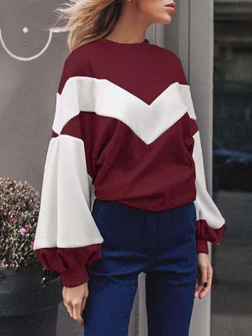 Color-block Crew Neck Balloon Sleeve Knitted Casual Sweatshirt