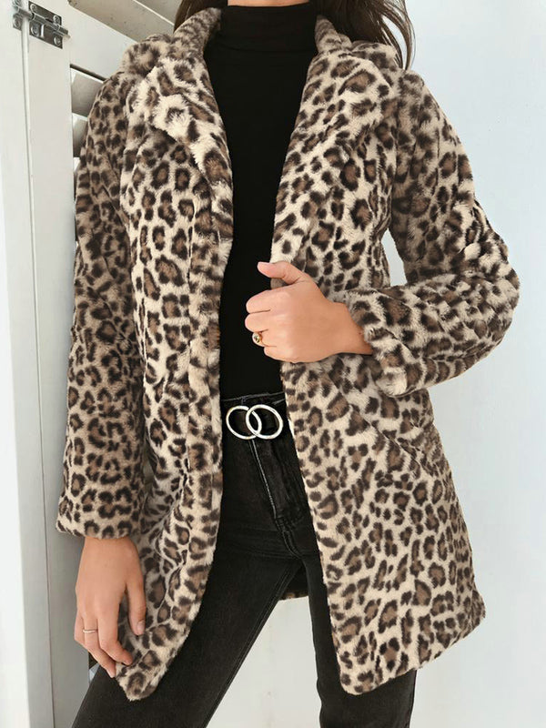 Fleece Fuzzy Wool Printed Long Sleeve Cashmere Vintage Coats
