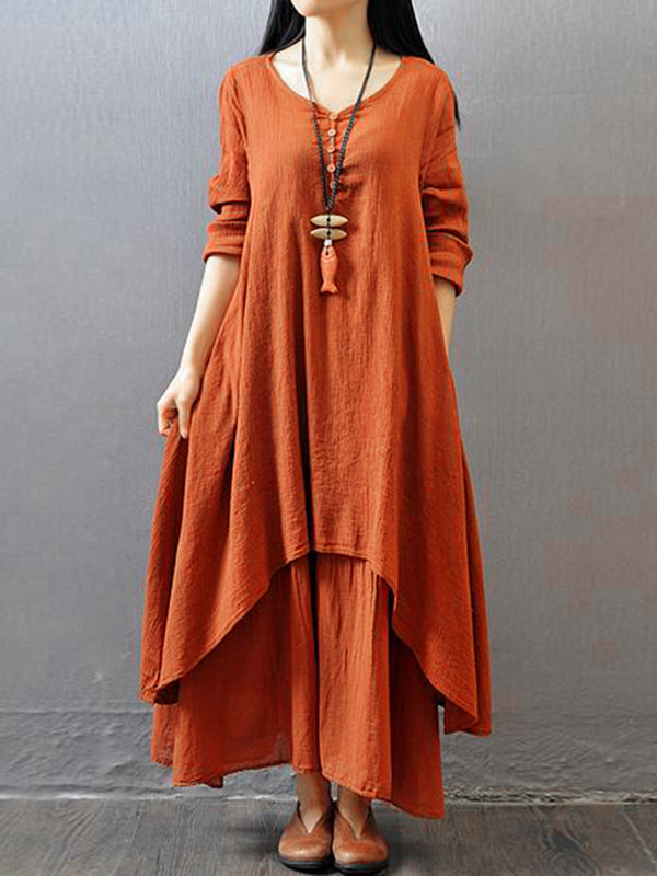 Casual Asymmetric Long Sleeve Plus Size Maxi Linen Dress