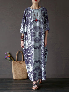 3/4 Sleeve Printed Casual Linen Dress