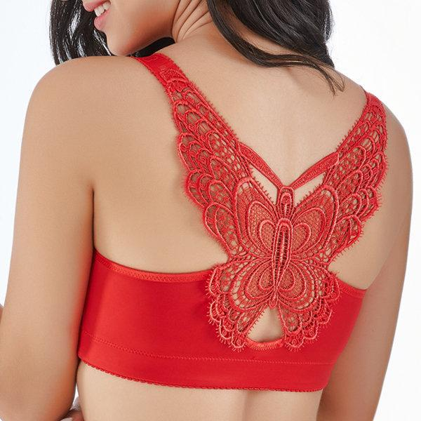 Butterfly Embroidery Front Closure Wireless Adjustable Push Up Bras