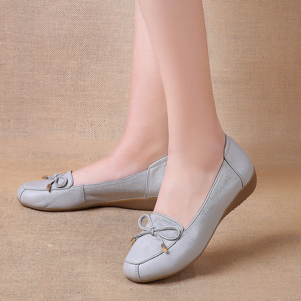 Daily Bowknot Slip-On Leather Low Heel Flats
