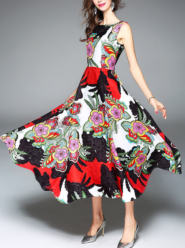 Multicolor Printed Sleeveless Floral Party Dress