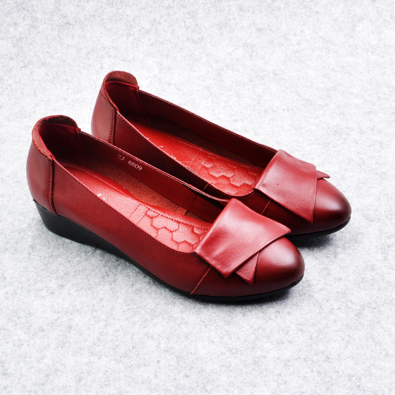 Butterfly Wedge Heel Slip-On Soft Leather Flats