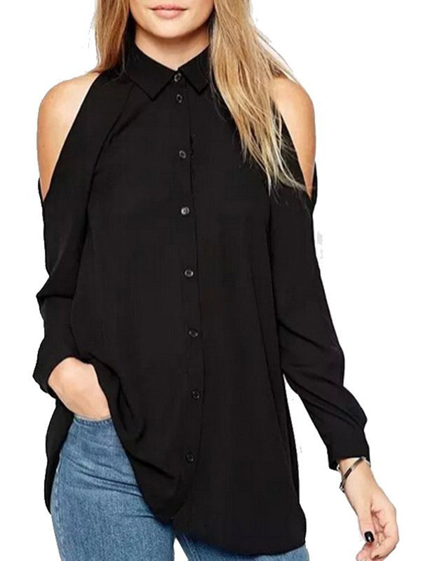 Solid Casual Cold Shoulder Plus Size Chiffon Blouse
