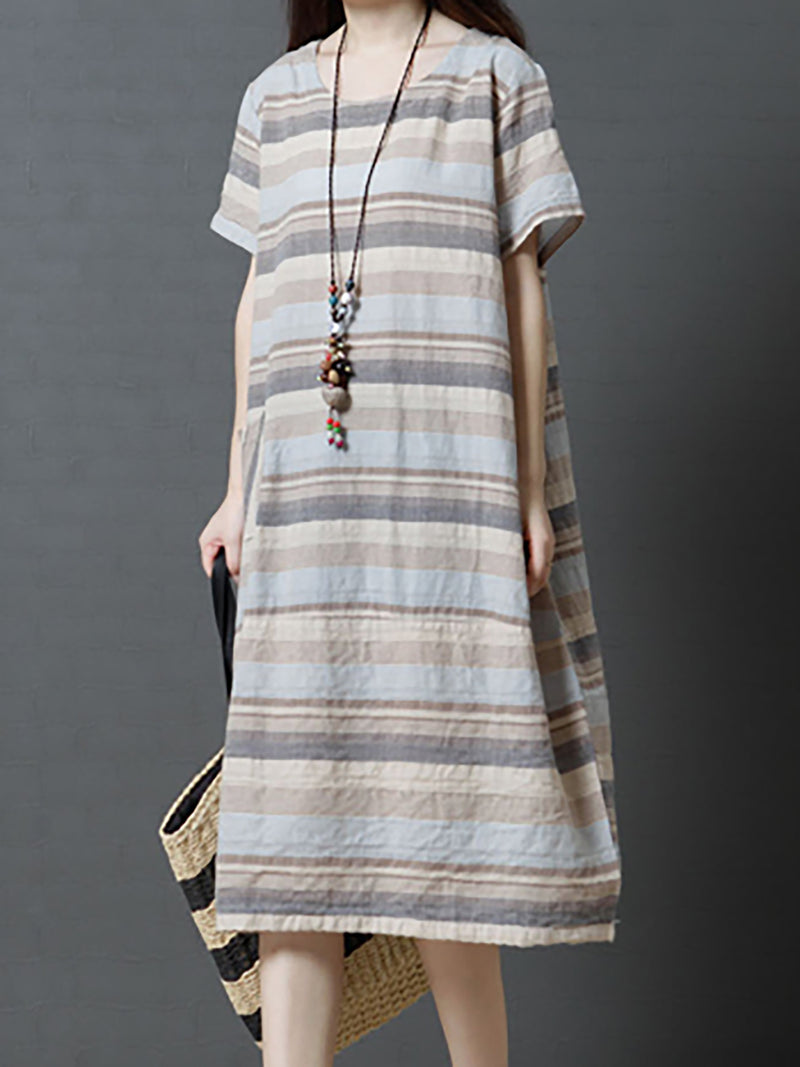 Basic Striped Pocket Midi Causal Cozy Dress