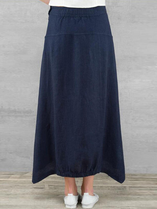 Vintage Plain Linen Pockets Buttoned Plus Size Skirt