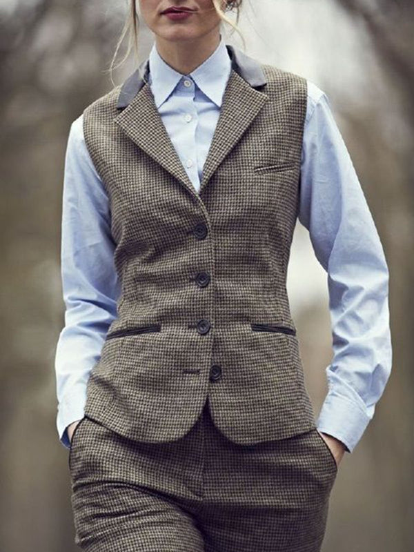 Khaki Wool Blend Sleeveless Vests