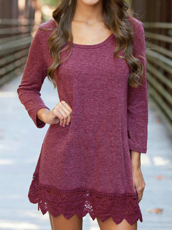 Long Sleeve Shift Lace, Paneled Solid Casual Dress