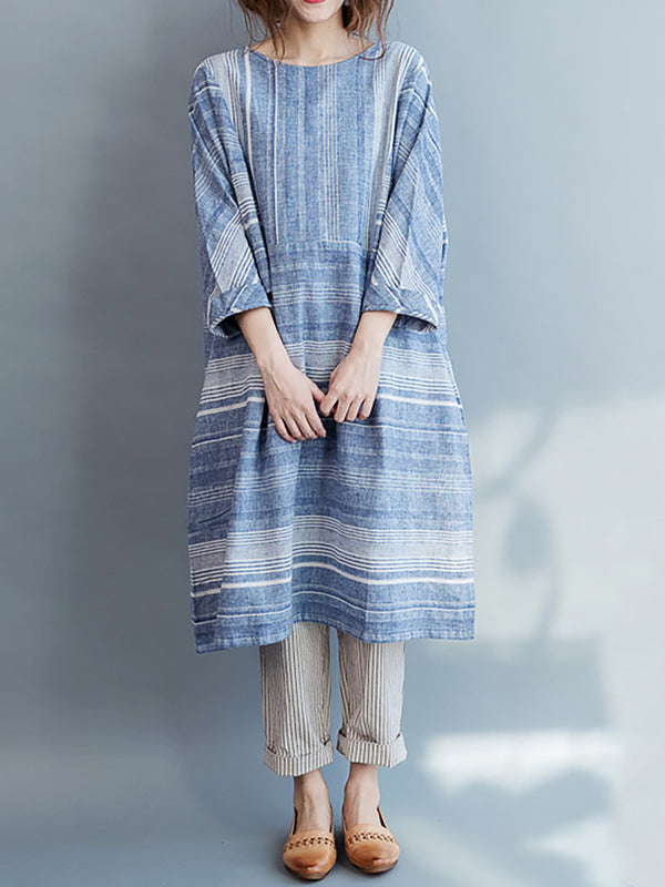 Cotton Linen Crew Neck Shift Stripe Casual Dress