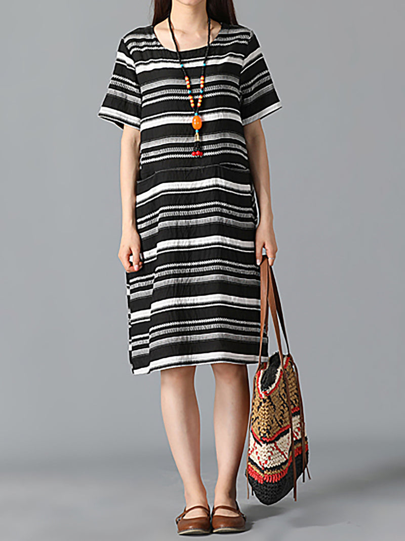 Black Shift Striped Printed Basic Casual Dress