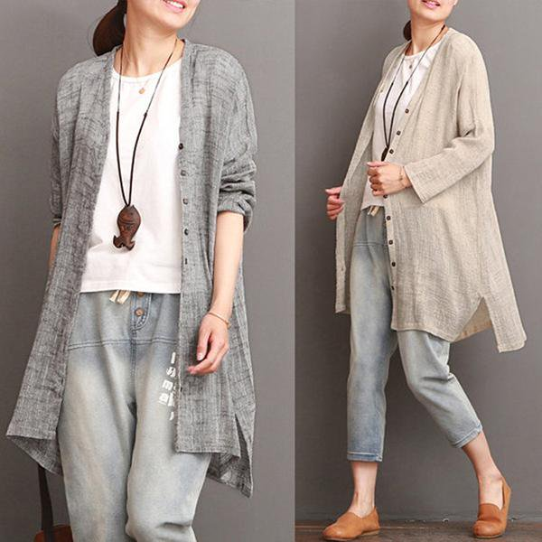 Solid Casual Long Sleeve Cotton Linen Cardigan – fairymiss 4c9ed7423