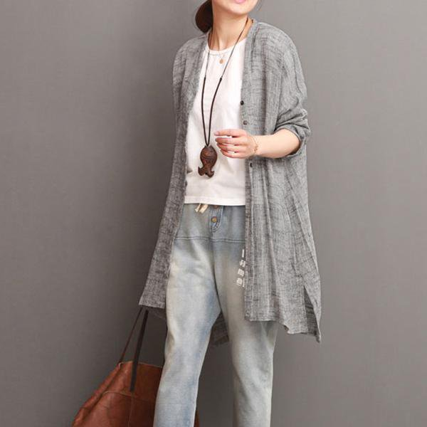 Solid Casual Long Sleeve Cotton Linen Cardigan