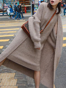 2018 Women Solid Sweater Dress Sets