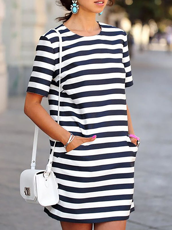 Crew Neck Shift Casual Cross Stripes Dress