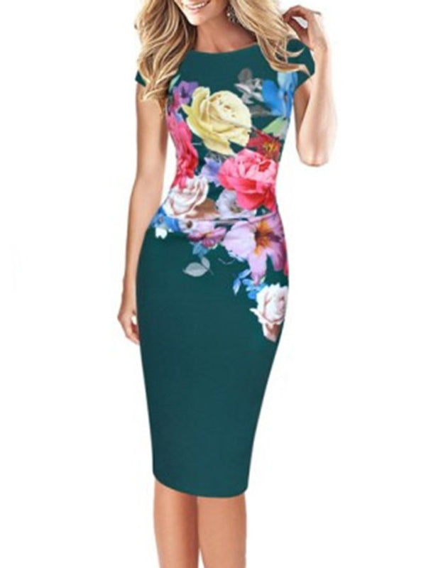 Floral Crew Neck Bodycon Elegant Plus Size Party Dress