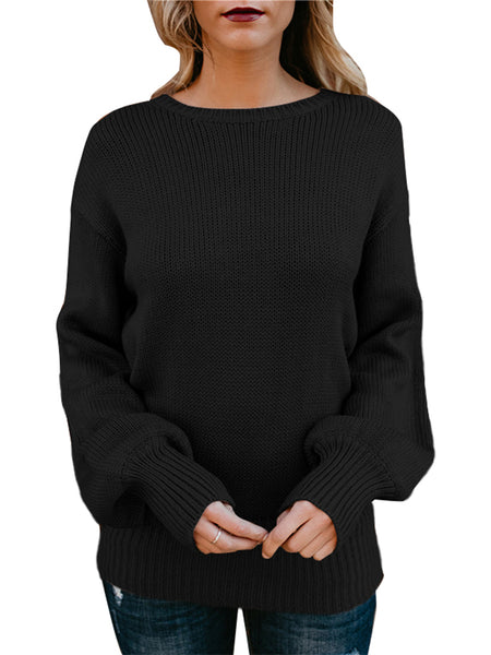 Backless Bow Shift Casual Knitted Sweater
