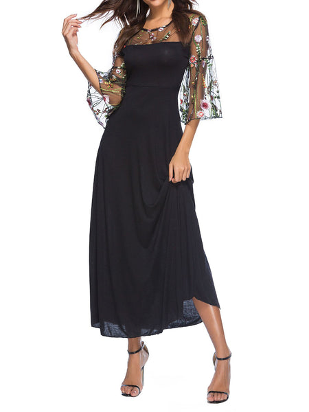 Black Embroidery Balloon Sleeve Elegant Paneled Maxi Dress