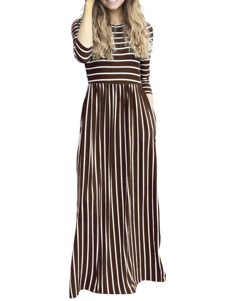 Crew Neck Striped Statement Fall Dress